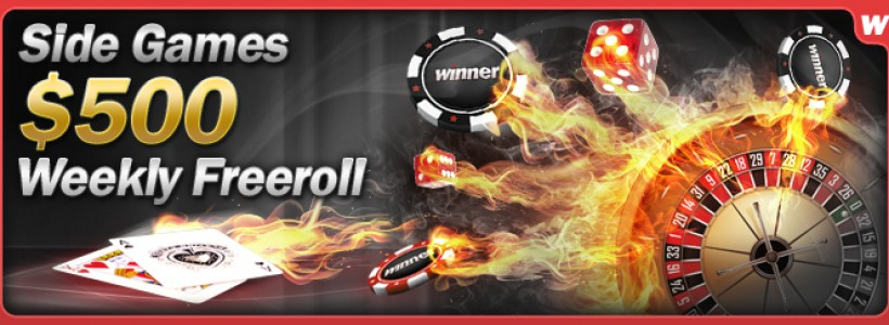 Join the $500 Weekly Side Games Free Roll at Winner Poker