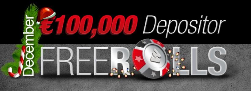 €100K Guaranteed in December Depositor Freerolls